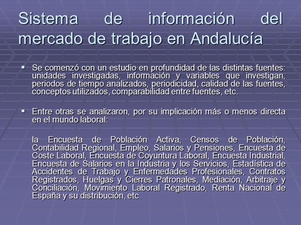 Sistema de información del mercado de trabajo en Andalucía Se comenzó con un estudio en profundidad de las distintas fuentes: unidades investigadas, i