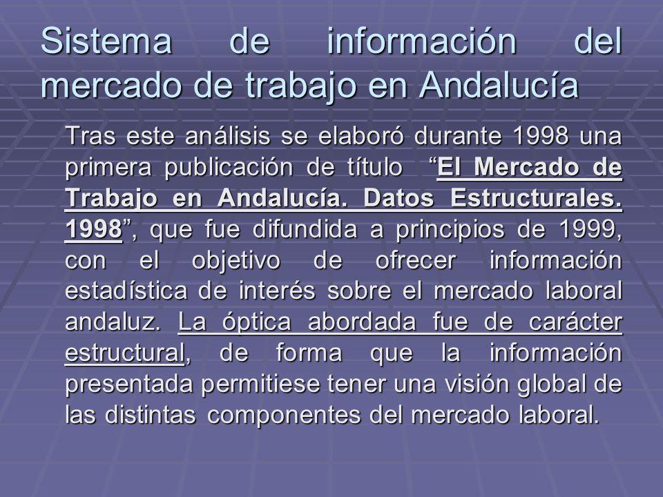 Sistema de información del mercado de trabajo en Andalucía Tras este análisis se elaboró durante 1998 una primera publicación de título El Mercado de