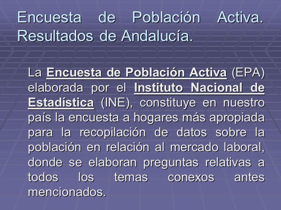 Encuesta de Población Activa. Resultados de Andalucía. La Encuesta de Población Activa (EPA) elaborada por el Instituto Nacional de Estadística (INE),