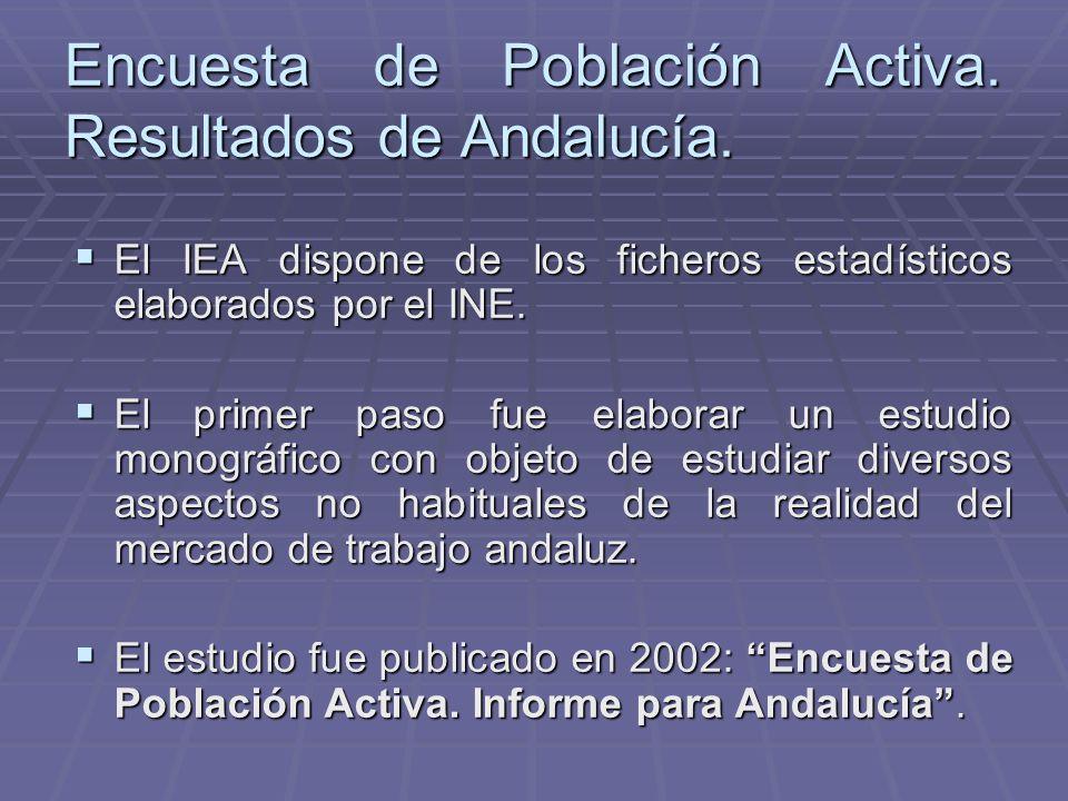 Encuesta de Población Activa. Resultados de Andalucía. El IEA dispone de los ficheros estadísticos elaborados por el INE. El IEA dispone de los ficher
