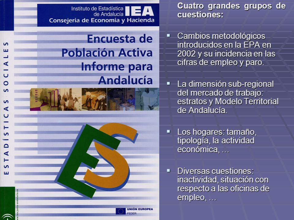 Cuatro grandes grupos de cuestiones: Cambios metodológicos introducidos en la EPA en 2002 y su incidencia en las cifras de empleo y paro. Cambios meto