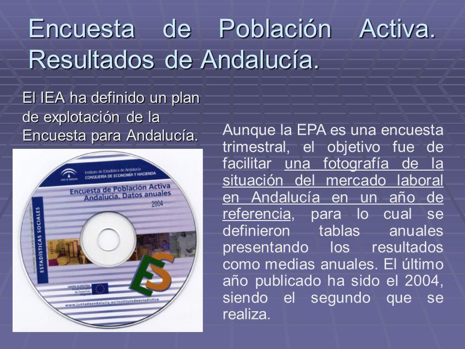 Encuesta de Población Activa. Resultados de Andalucía. El IEA ha definido un plan de explotación de la Encuesta para Andalucía. Aunque la EPA es una e