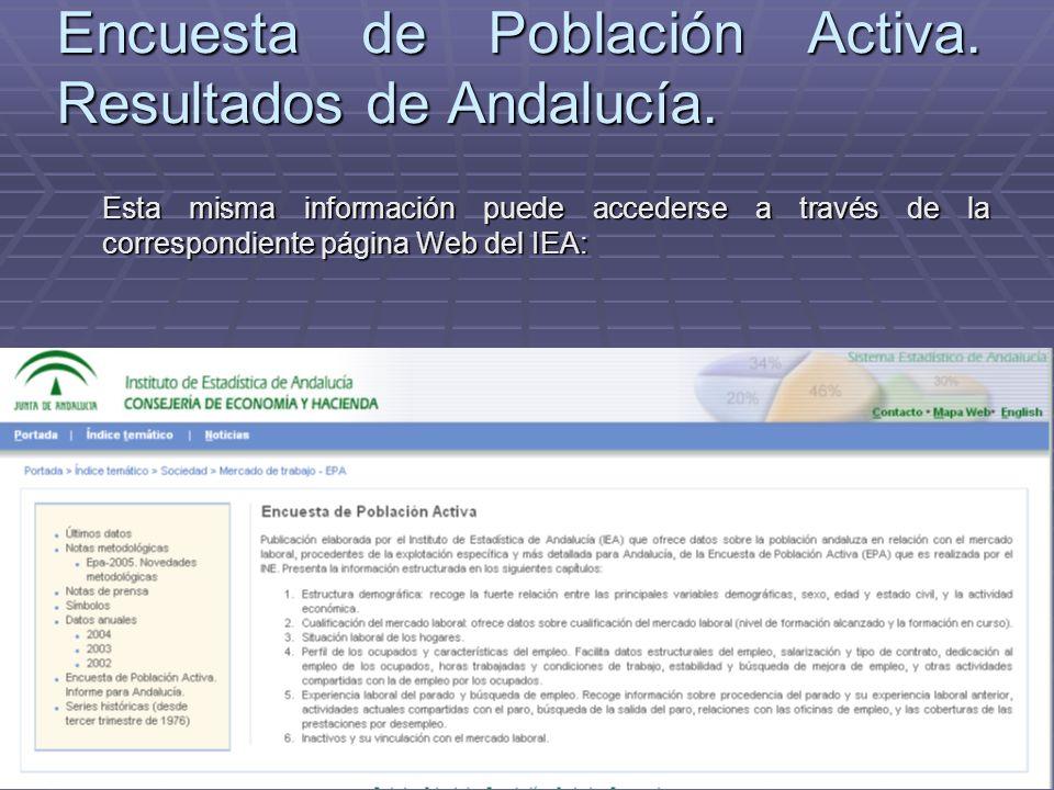 Encuesta de Población Activa. Resultados de Andalucía. Esta misma información puede accederse a través de la correspondiente página Web del IEA: