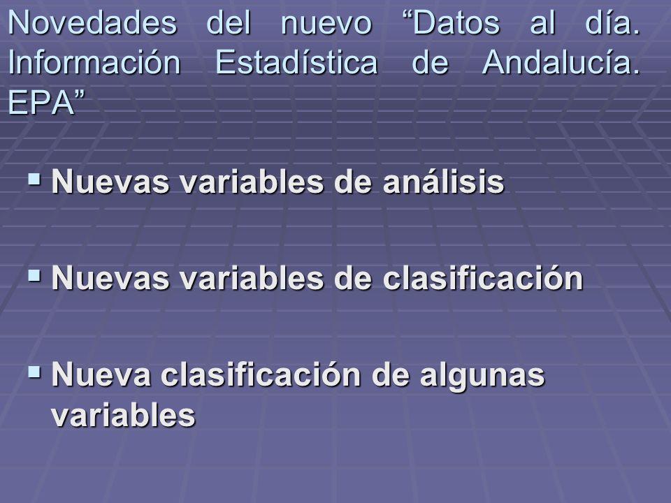 Novedades del nuevo Datos al día. Información Estadística de Andalucía. EPA Nuevas variables de análisis Nuevas variables de análisis Nuevas variables