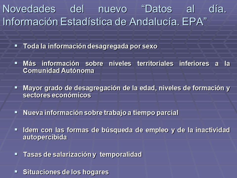 Novedades del nuevo Datos al día. Información Estadística de Andalucía. EPA Toda la información desagregada por sexo Toda la información desagregada p