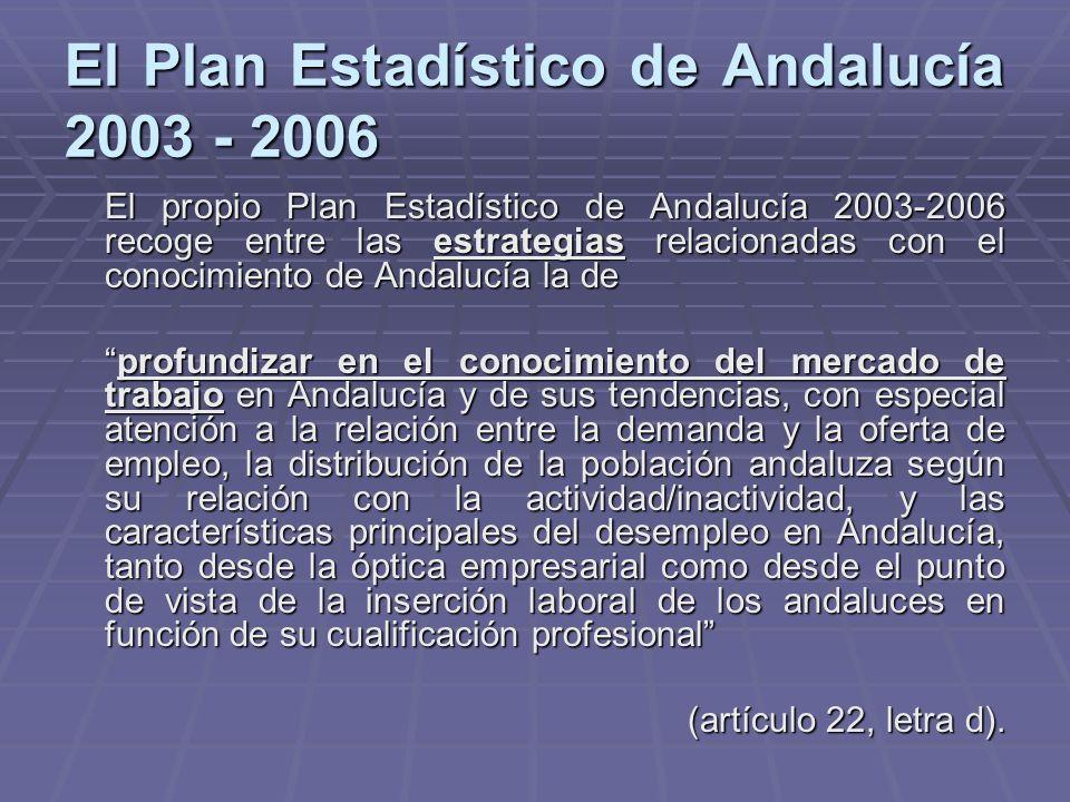 El Plan Estadístico de Andalucía 2003 - 2006 El propio Plan Estadístico de Andalucía 2003-2006 recoge entre las estrategias relacionadas con el conoci