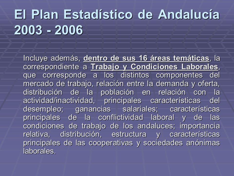 El Plan Estadístico de Andalucía 2003 - 2006 Incluye además, dentro de sus 16 áreas temáticas, la correspondiente a Trabajo y Condiciones Laborales, q