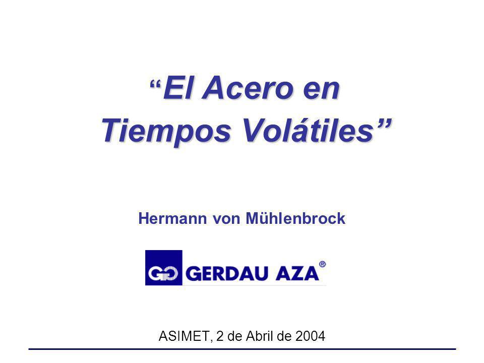 El Acero en Tiempos Volátiles El Acero en Tiempos Volátiles Hermann von Mühlenbrock ASIMET, 2 de Abril de 2004