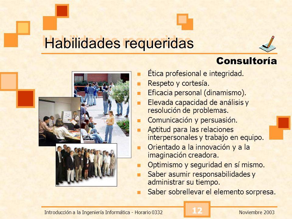 Noviembre 2003Introducción a la Ingeniería Informática - Horario 0332 12 Habilidades requeridas Ética profesional e integridad. Respeto y cortesía. Ef