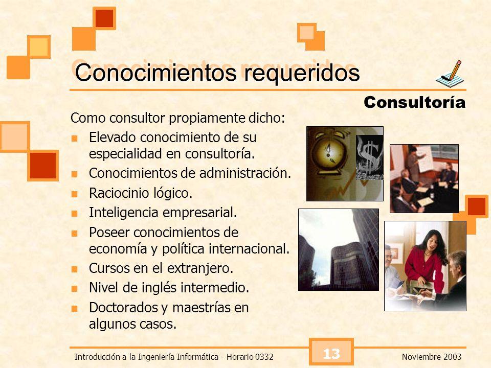 Noviembre 2003Introducción a la Ingeniería Informática - Horario 0332 13 Conocimientos requeridos Como consultor propiamente dicho: Elevado conocimien