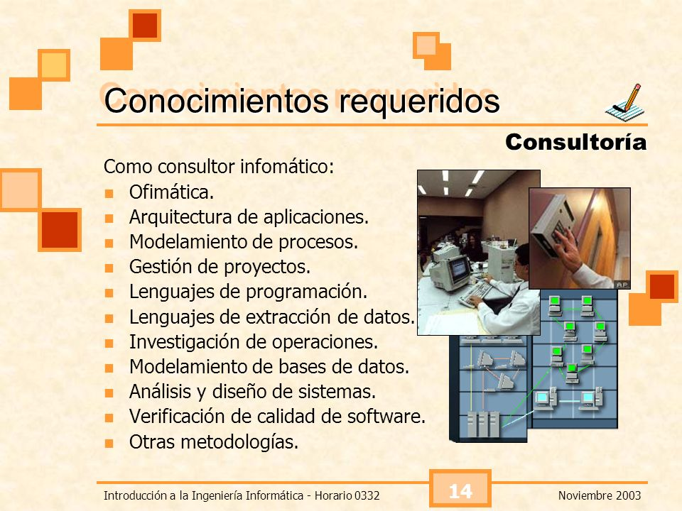 Noviembre 2003Introducción a la Ingeniería Informática - Horario 0332 14 Conocimientos requeridos Como consultor infomático: Ofimática. Arquitectura d