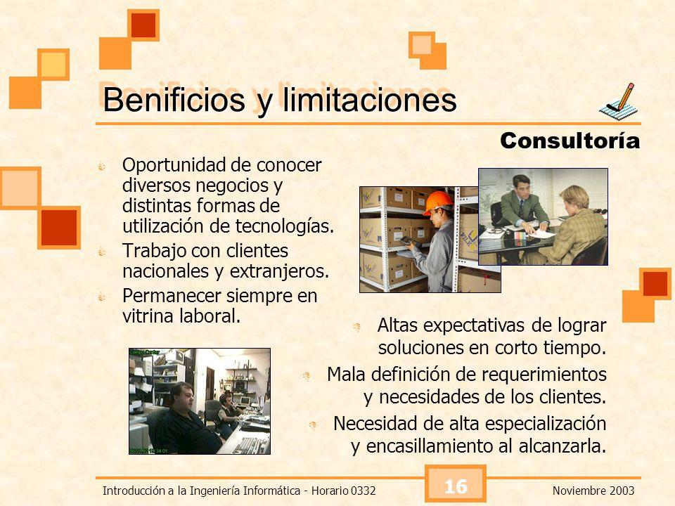 Noviembre 2003Introducción a la Ingeniería Informática - Horario 0332 16 Oportunidad de conocer diversos negocios y distintas formas de utilización de