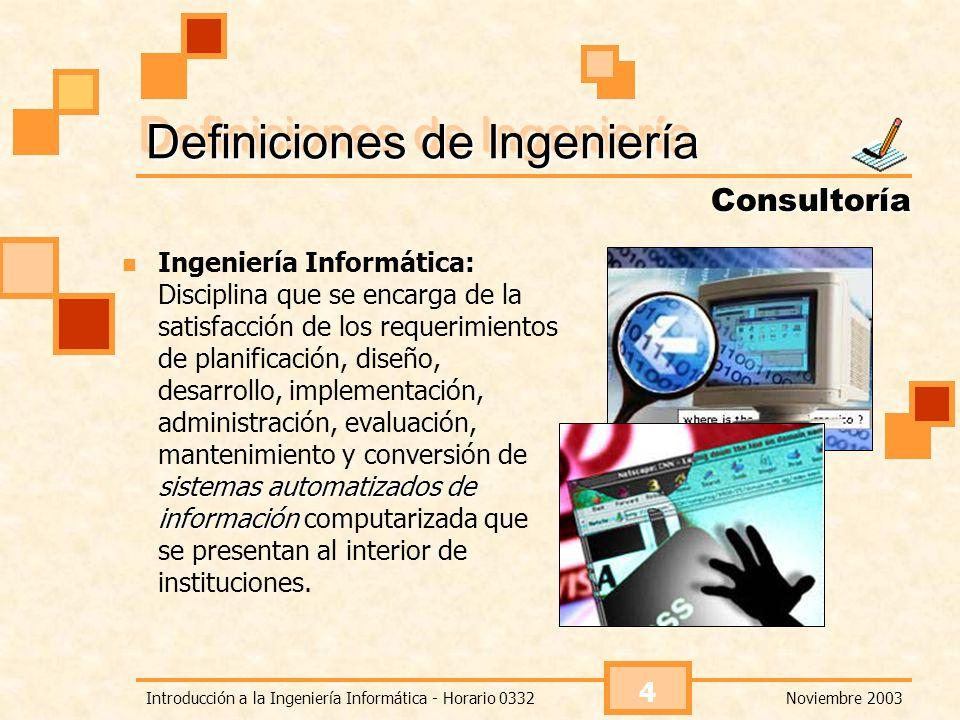 Noviembre 2003Introducción a la Ingeniería Informática - Horario 0332 4 Definiciones de Ingeniería sistemas automatizados de información Ingeniería In