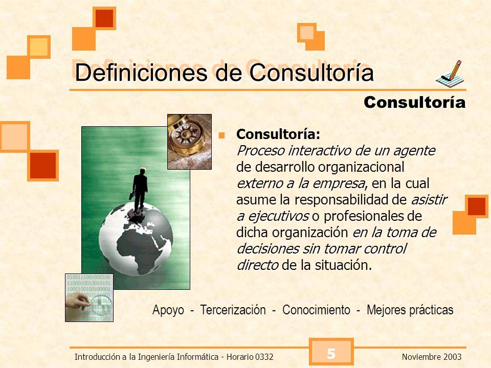 Noviembre 2003Introducción a la Ingeniería Informática - Horario 0332 6 La consultoría en el Mundo Muchas empresas contratan consultores para que les ayuden a incursionar en nuevos mercados, consolidarse en los existentes o simplemente para sobrevivir.