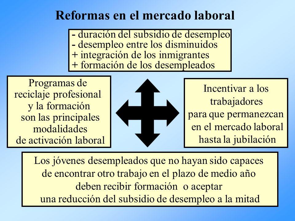 - duración del subsidio de desempleo - desempleo entre los disminuidos + integración de los inmigrantes + formación de los desempleados Programas de r