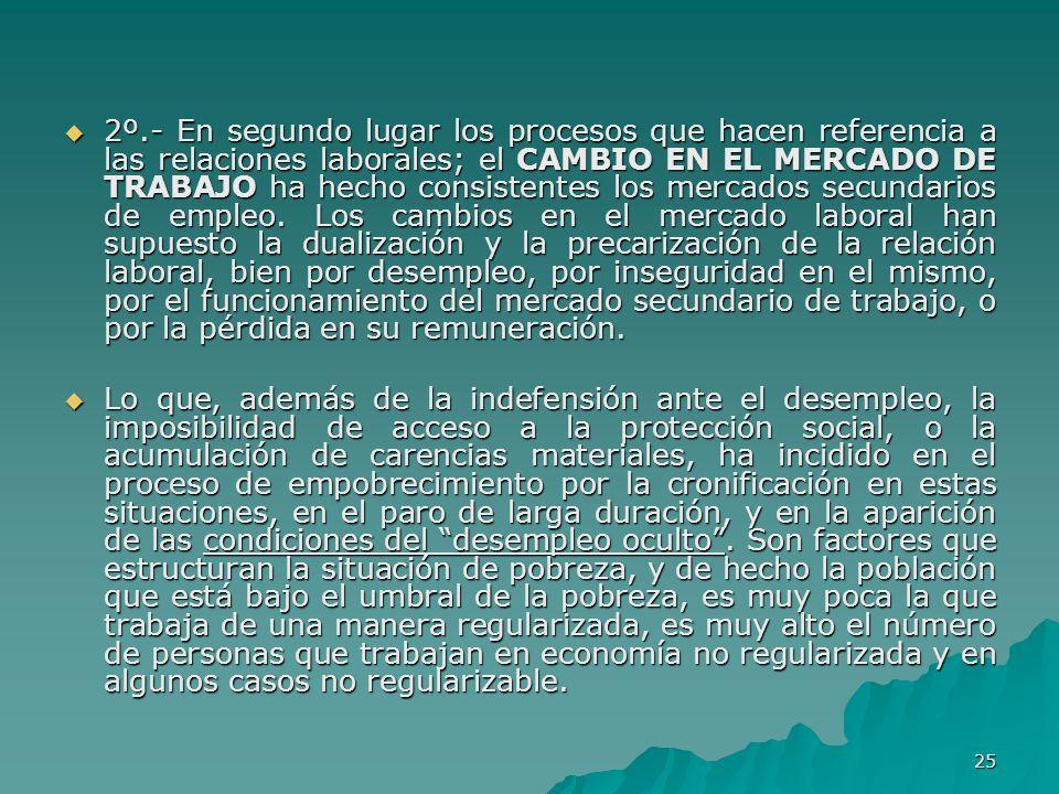 25 2º.- En segundo lugar los procesos que hacen referencia a las relaciones laborales; el CAMBIO EN EL MERCADO DE TRABAJO ha hecho consistentes los mercados secundarios de empleo.