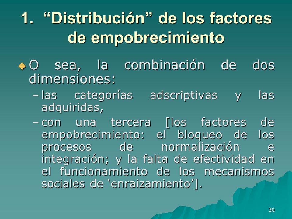 30 1. Distribución de los factores de empobrecimiento O sea, la combinación de dos dimensiones: O sea, la combinación de dos dimensiones: –las categor