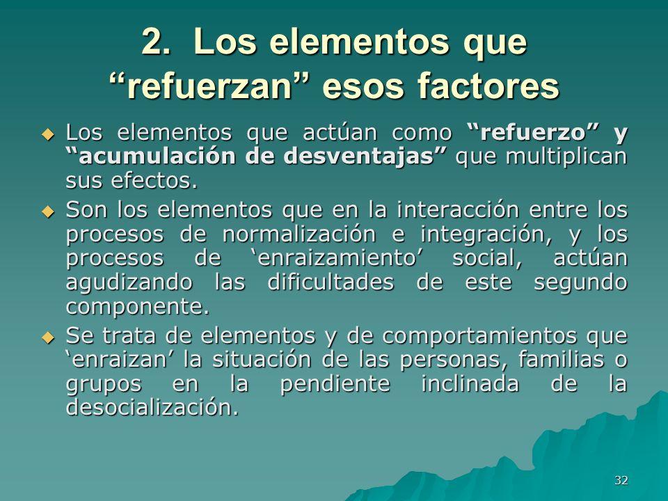 32 2. Los elementos que refuerzan esos factores Los elementos que actúan como refuerzo y acumulación de desventajas que multiplican sus efectos. Los e