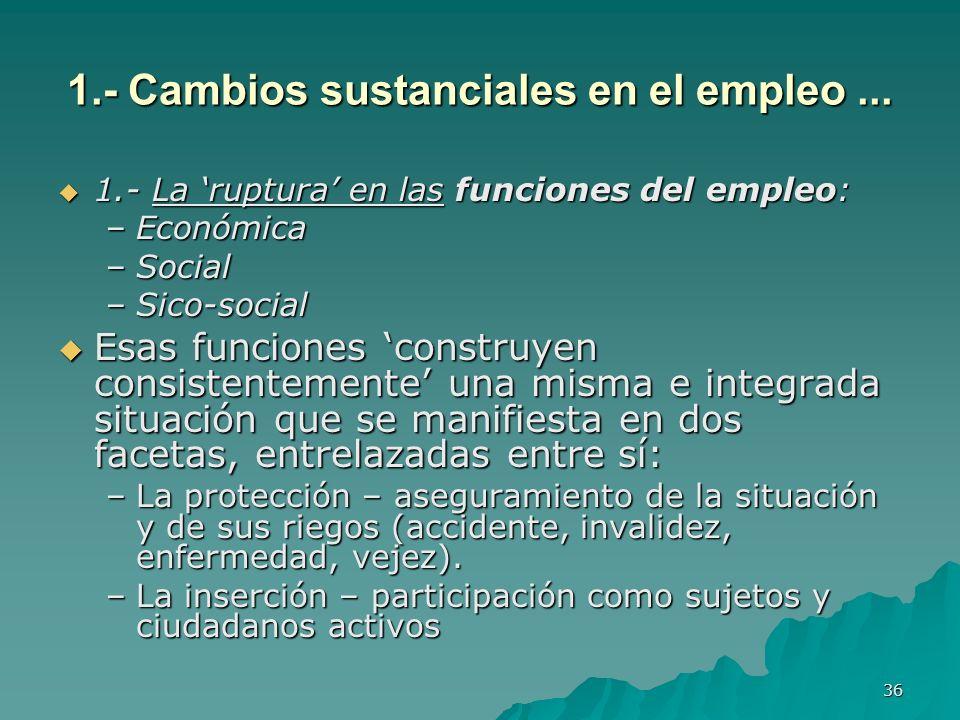 36 1.- Cambios sustanciales en el empleo...