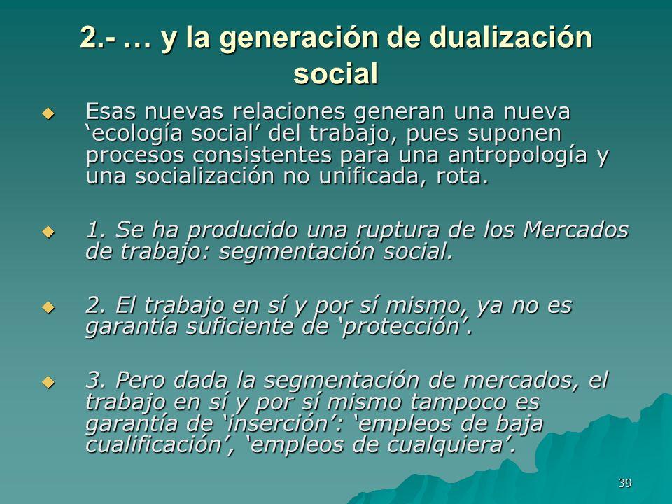 39 2.- … y la generación de dualización social Esas nuevas relaciones generan una nueva ecología social del trabajo, pues suponen procesos consistentes para una antropología y una socialización no unificada, rota.