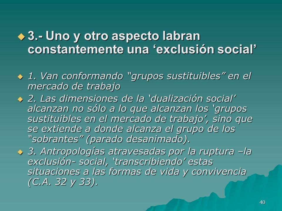 40 3.- Uno y otro aspecto labran constantemente una exclusión social 3.- Uno y otro aspecto labran constantemente una exclusión social 1.