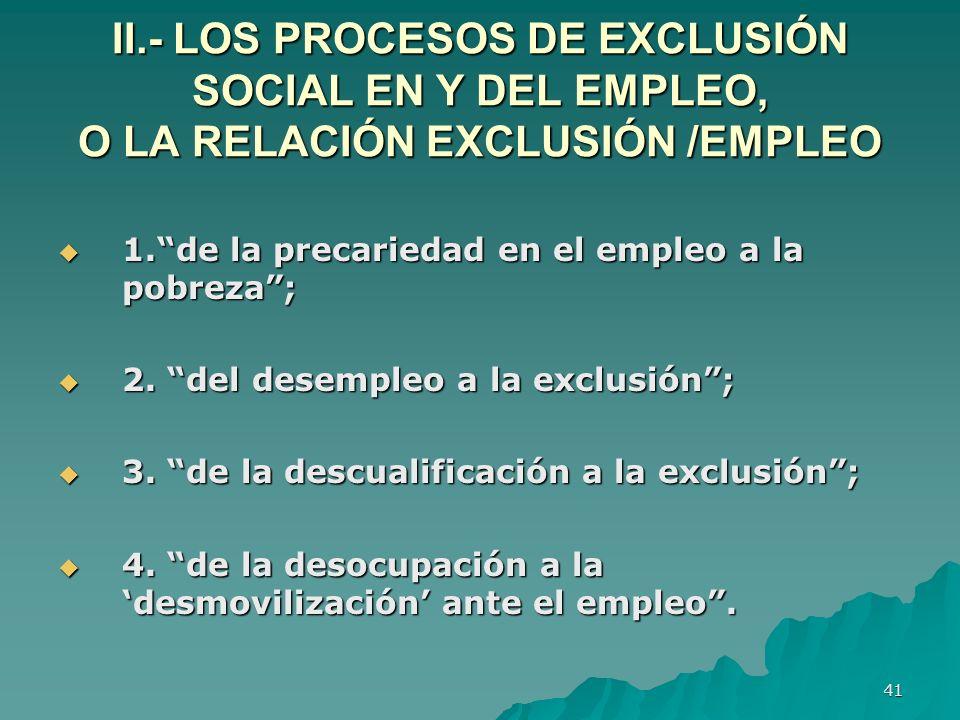 41 II.- LOS PROCESOS DE EXCLUSIÓN SOCIAL EN Y DEL EMPLEO, O LA RELACIÓN EXCLUSIÓN /EMPLEO 1.de la precariedad en el empleo a la pobreza; 1.de la precariedad en el empleo a la pobreza; 2.