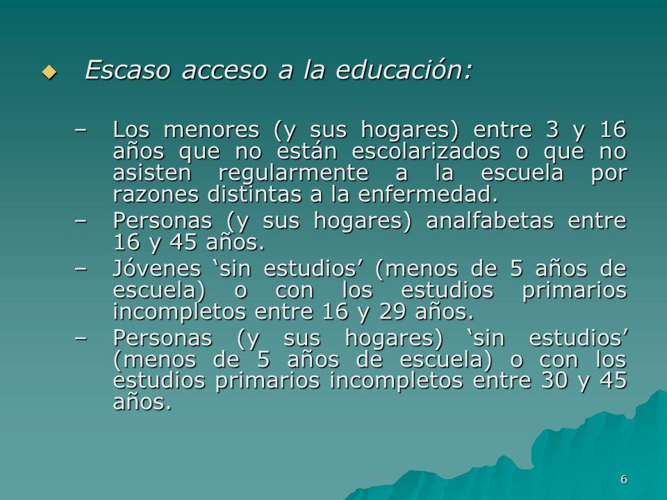 6 Escaso acceso a la educación: Escaso acceso a la educación: –Los menores (y sus hogares) entre 3 y 16 años que no están escolarizados o que no asisten regularmente a la escuela por razones distintas a la enfermedad.