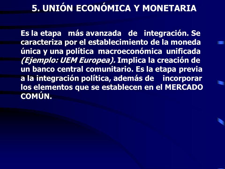 4. MERCADO COMÚN Esta forma de integración incluye la libre circulación de mercancías, los servicios financieros, los factores de la producción y la m