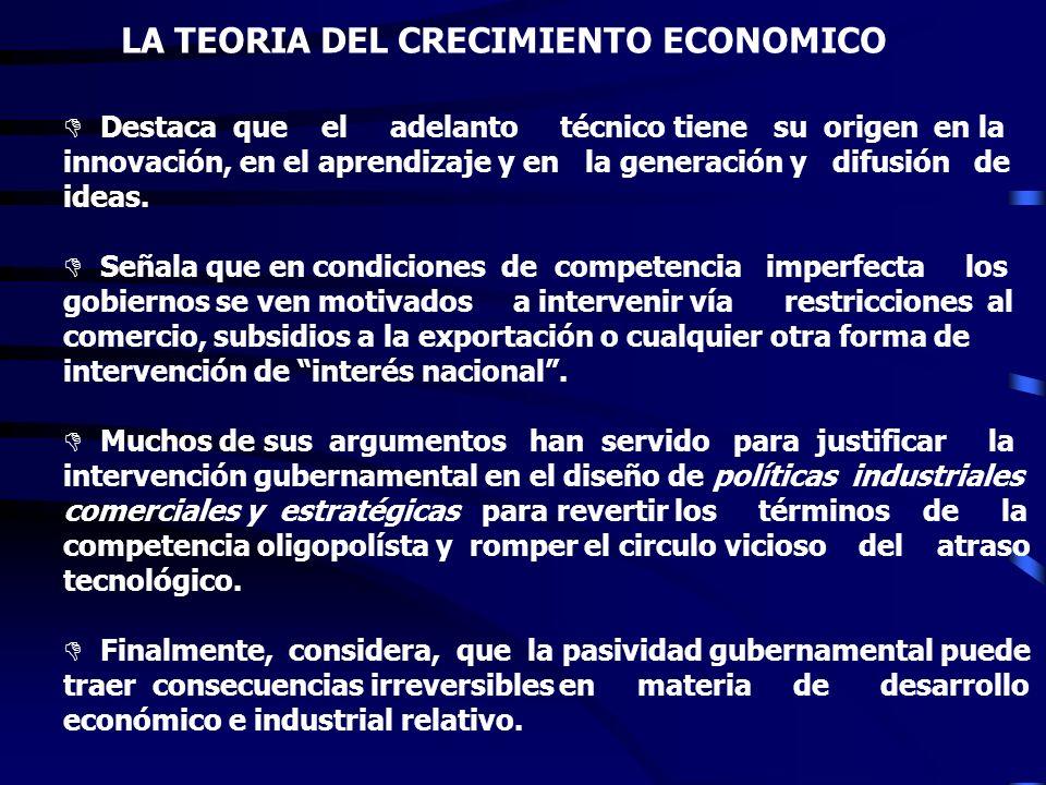 LA TEORIA DEL CRECIMIENTO ECONOMICO D Mantiene una estrecha relación con la microeconomía y la Teoría de la Organización Industrial. D Enfatiza que la