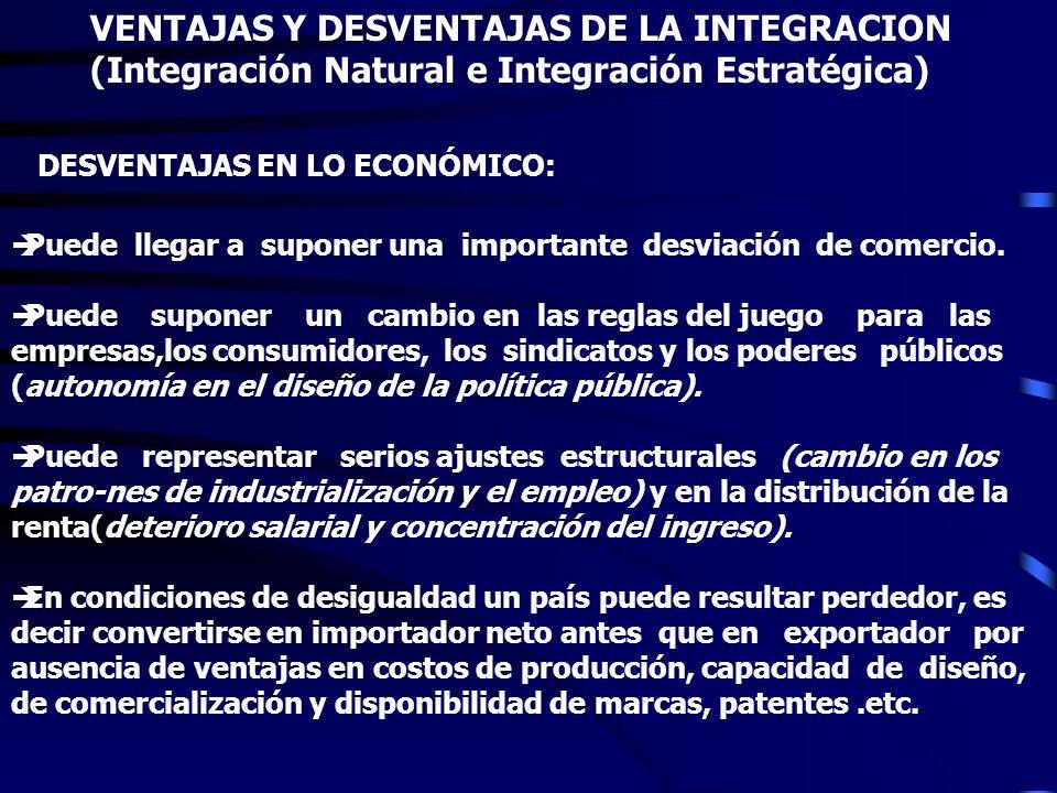 VENTAJAS Y DESVENTAJAS DE LA INTEGRACION (Integración Natural e Integración Estratégica) J Permite la especialización y el aprovechamiento de las vent