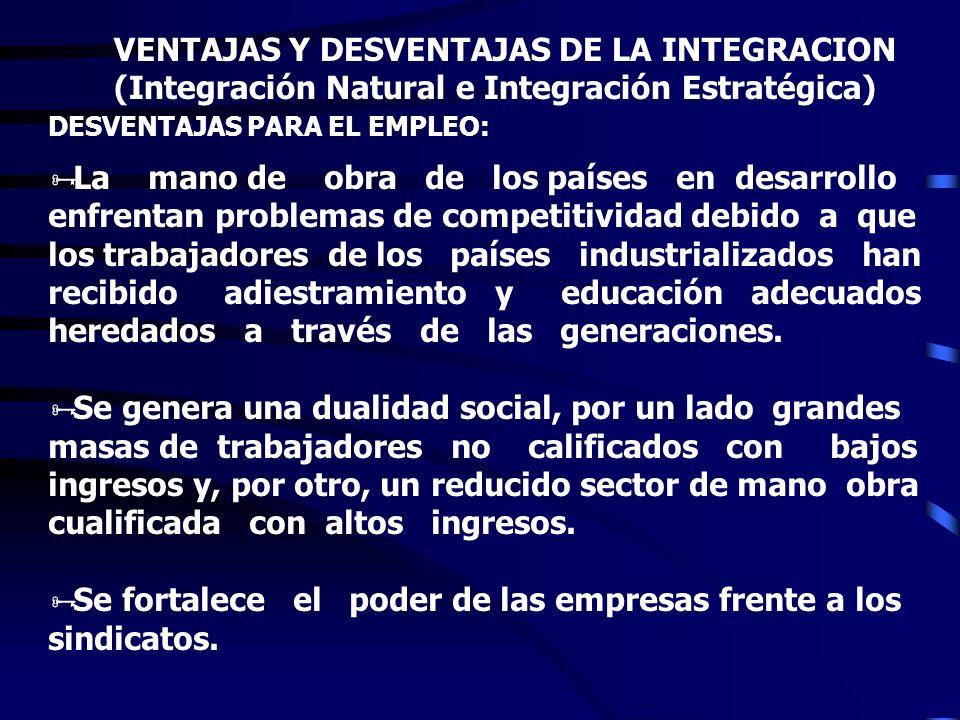 VENTAJAS Y DESVENTAJAS DE LA INTEGRACION (Integración Natural e Integración Estratégica) VENTAJAS PARA EL EMPLEO: * Favorece la generación de empleos.