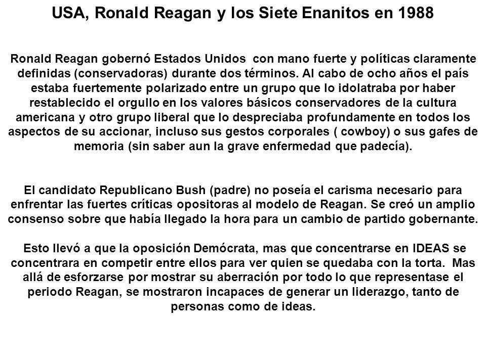USA, Ronald Reagan y los Siete Enanitos en 1988 Ronald Reagan gobernó Estados Unidos con mano fuerte y políticas claramente definidas (conservadoras) durante dos términos.