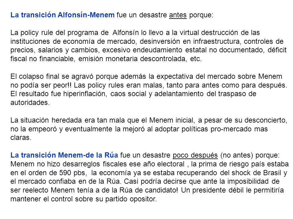 La transición Alfonsín-Menem fue un desastre antes porque: La policy rule del programa de Alfonsín lo llevo a la virtual destrucción de las instituciones de economía de mercado, desinversión en infraestructura, controles de precios, salarios y cambios, excesivo endeudamiento estatal no documentado, déficit fiscal no financiable, emisión monetaria descontrolada, etc.