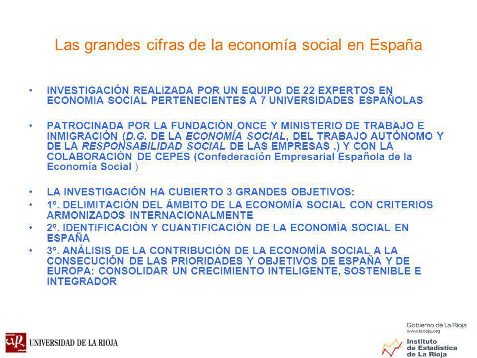 Las grandes cifras de la economía social en España INVESTIGACIÓN REALIZADA POR UN EQUIPO DE 22 EXPERTOS EN ECONOMIA SOCIAL PERTENECIENTES A 7 UNIVERSIDADES ESPAÑOLAS PATROCINADA POR LA FUNDACIÓN ONCE Y MINISTERIO DE TRABAJO E INMIGRACIÓN (D.G.