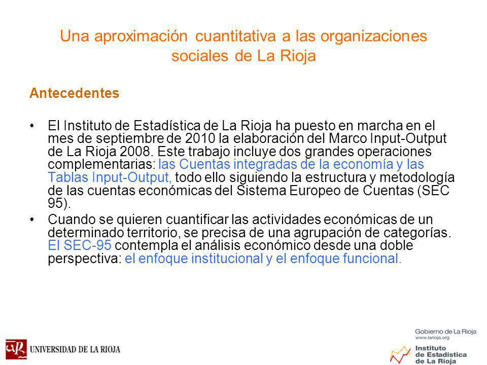 Una aproximación cuantitativa a las organizaciones sociales de La Rioja Antecedentes El Instituto de Estadística de La Rioja ha puesto en marcha en el mes de septiembre de 2010 la elaboración del Marco Input-Output de La Rioja 2008.