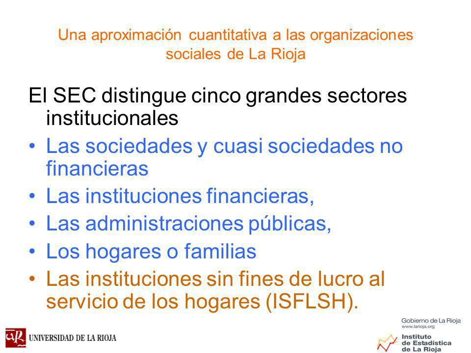 Una aproximación cuantitativa a las organizaciones sociales de La Rioja El SEC distingue cinco grandes sectores institucionales Las sociedades y cuasi sociedades no financieras Las instituciones financieras, Las administraciones públicas, Los hogares o familias Las instituciones sin fines de lucro al servicio de los hogares (ISFLSH).
