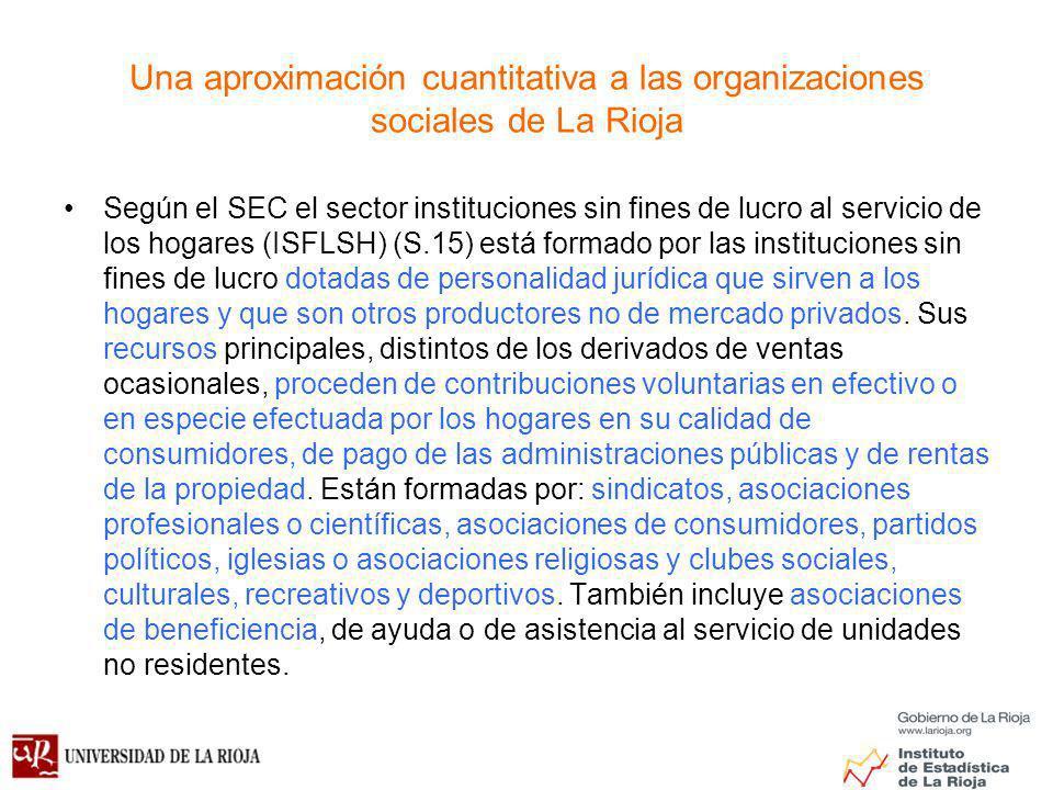 Una aproximación cuantitativa a las organizaciones sociales de La Rioja Según el SEC el sector instituciones sin fines de lucro al servicio de los hogares (ISFLSH) (S.15) está formado por las instituciones sin fines de lucro dotadas de personalidad jurídica que sirven a los hogares y que son otros productores no de mercado privados.