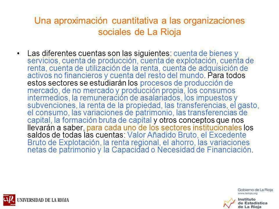 Una aproximación cuantitativa a las organizaciones sociales de La Rioja Las diferentes cuentas son las siguientes: cuenta de bienes y servicios, cuenta de producción, cuenta de explotación, cuenta de renta, cuenta de utilización de la renta, cuenta de adquisición de activos no financieros y cuenta del resto del mundo.