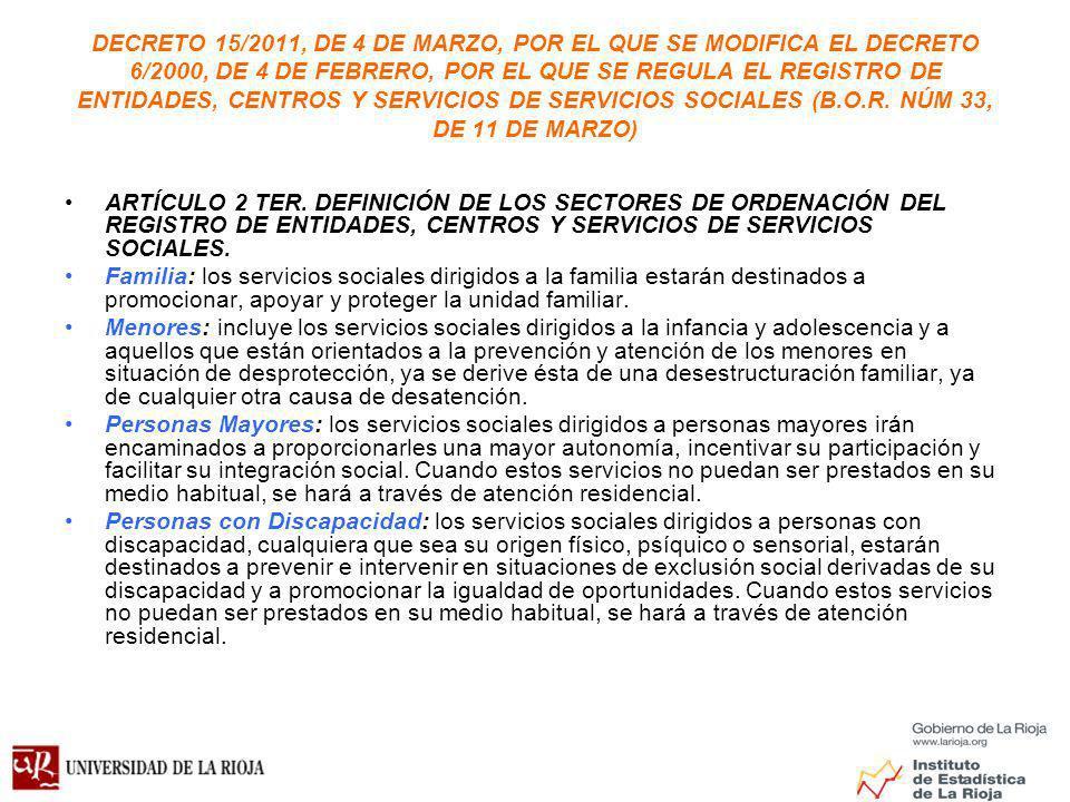 DECRETO 15/2011, DE 4 DE MARZO, POR EL QUE SE MODIFICA EL DECRETO 6/2000, DE 4 DE FEBRERO, POR EL QUE SE REGULA EL REGISTRO DE ENTIDADES, CENTROS Y SERVICIOS DE SERVICIOS SOCIALES (B.O.R.