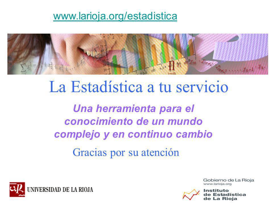 Gracias por su atención La Estadística a tu servicio www.larioja.org/estadistica Una herramienta para el conocimiento de un mundo complejo y en continuo cambio