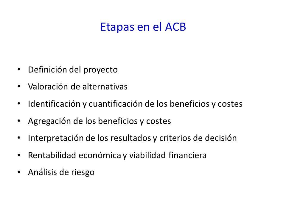Etapas en el ACB Definición del proyecto Valoración de alternativas Identificación y cuantificación de los beneficios y costes Agregación de los beneficios y costes Interpretación de los resultados y criterios de decisión Rentabilidad económica y viabilidad financiera Análisis de riesgo