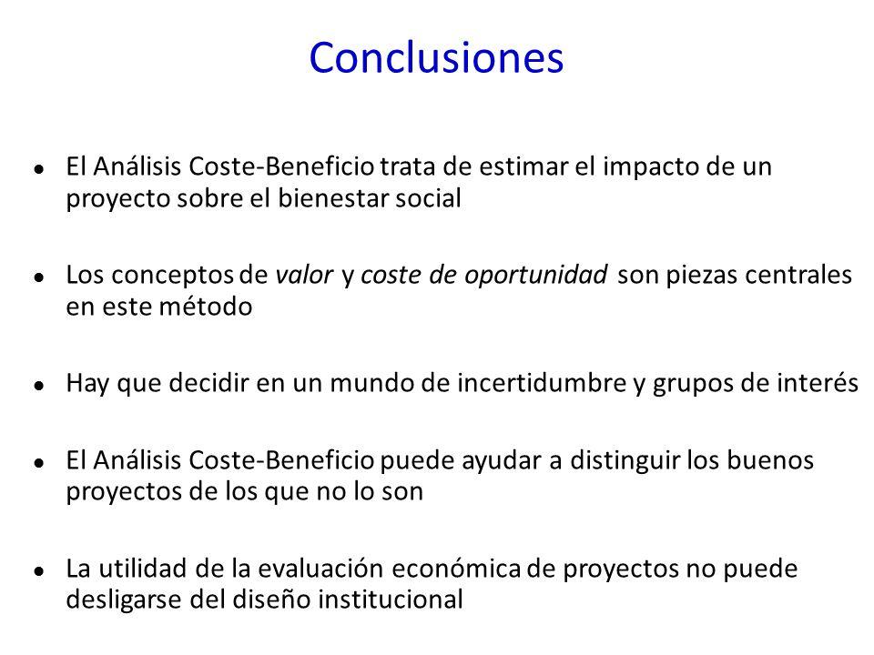 Conclusiones El Análisis Coste-Beneficio trata de estimar el impacto de un proyecto sobre el bienestar social Los conceptos de valor y coste de oportu