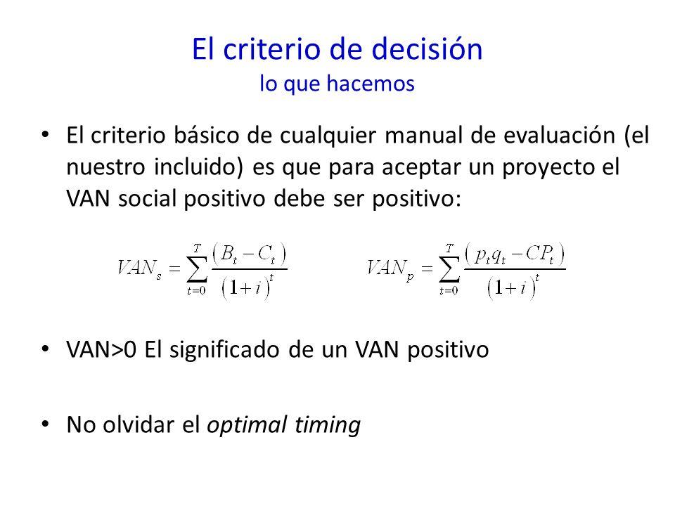 El criterio de decisión lo que hacemos El criterio básico de cualquier manual de evaluación (el nuestro incluido) es que para aceptar un proyecto el VAN social positivo debe ser positivo: VAN>0 El significado de un VAN positivo No olvidar el optimal timing