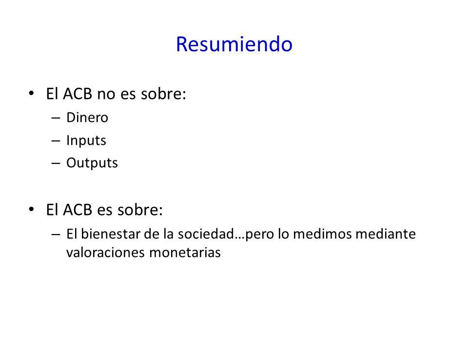 Resumiendo El ACB no es sobre: – Dinero – Inputs – Outputs El ACB es sobre: – El bienestar de la sociedad…pero lo medimos mediante valoraciones monetarias