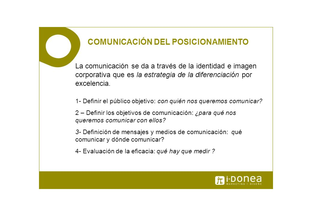 COMUNICACIÓN DEL POSICIONAMIENTO La comunicación se da a través de la identidad e imagen corporativa que es la estrategia de la diferenciación por exc