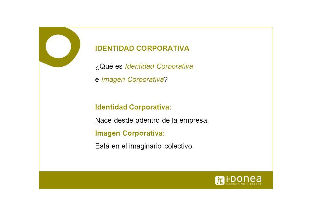IDENTIDAD CORPORATIVA ¿Qué es Identidad Corporativa e Imagen Corporativa? Identidad Corporativa: Nace desde adentro de la empresa. Imagen Corporativa: