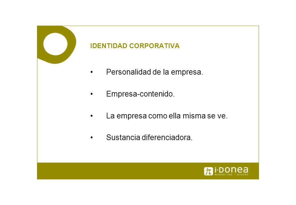 IDENTIDAD CORPORATIVA Personalidad de la empresa. Empresa-contenido. La empresa como ella misma se ve. Sustancia diferenciadora.