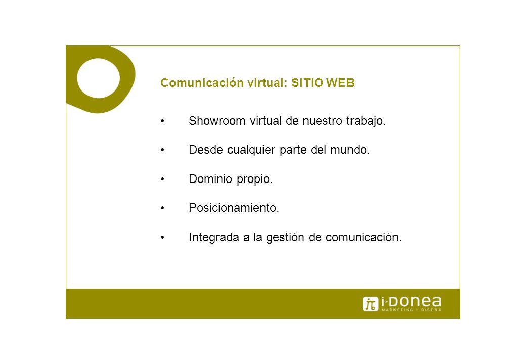 Comunicación virtual: SITIO WEB Showroom virtual de nuestro trabajo. Desde cualquier parte del mundo. Dominio propio. Posicionamiento. Integrada a la