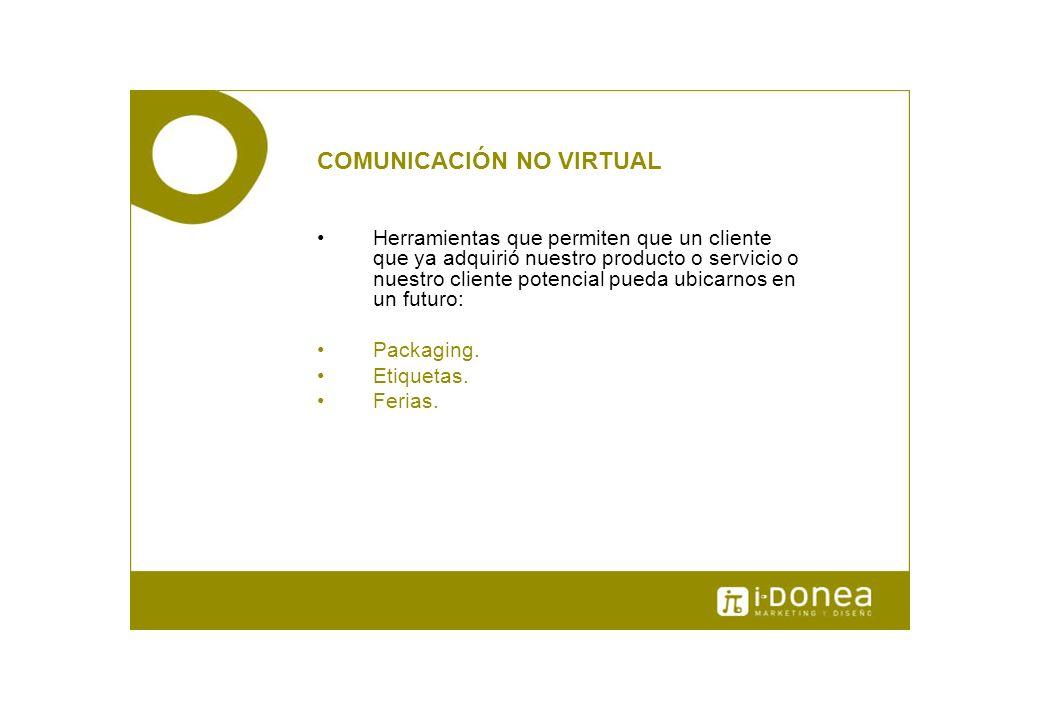 COMUNICACIÓN NO VIRTUAL Herramientas que permiten que un cliente que ya adquirió nuestro producto o servicio o nuestro cliente potencial pueda ubicarn