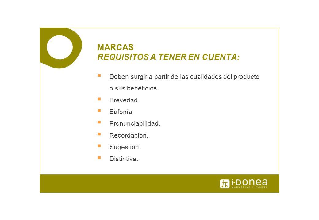 MARCAS REQUISITOS A TENER EN CUENTA: Deben surgir a partir de las cualidades del producto o sus beneficios. Brevedad. Eufonía. Pronunciabilidad. Recor